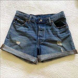 Levi's 501 distressed high waist denim jean shorts